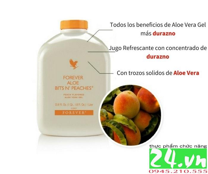 Forever Aloe Bits N'peaches 077 Flp |Nước Uống Aloe Vera Hương Đào